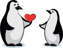 Antarctic black and white cartoon emperor penguins with Valentine red heart. Vector