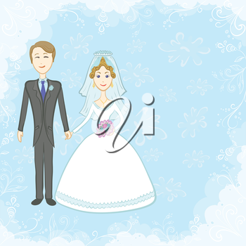 Cartoon, the bride and groom on a blue background with white floral pattern. Vector