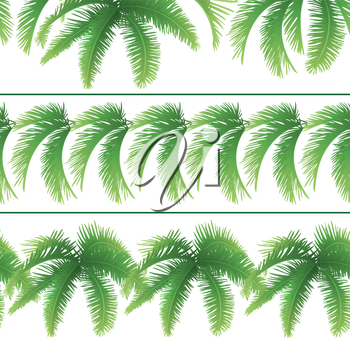 Set seamless patterns, green branches with leaves of palm trees. Vector