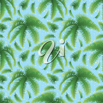 Seamless pattern, green branches with leaves of palm trees on a background of blue sky. Vector