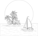 Sailing boat with a people floating in the tropical sea against the backdrop of the island with palm and sun, contours. Vector