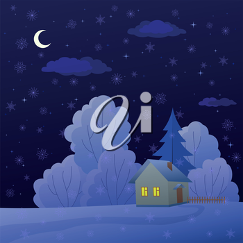 Winter christmas landscape, cartoon country house in night forest. Vector