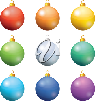 Christmas holiday decoration, set of balls all colors of the rainbow. Eps10, contains transparencies. Vector
