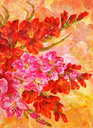 Picture Oil Painting on a Canvas, a Bouquet of Flowers Gladiolus