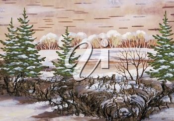 Picture, wood lake, drawing distemper on a birch bark