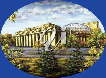 Picture oil paints on a canvas: Opera and ballet theatre, Russia, Novosibirsk, in autumn