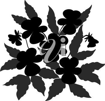 Flowers and leaves pansies, black contour on white background. Vector