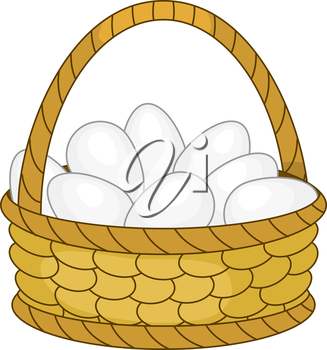 Wattled willow basket with white chicken eggs