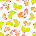 Abstract seamless background, butterflies from leaves, hand draw watercolour painting
