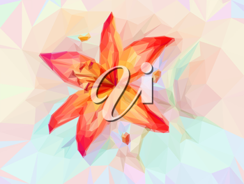 Floral Low Poly Pattern, Bouquet with Red Lily. Vector