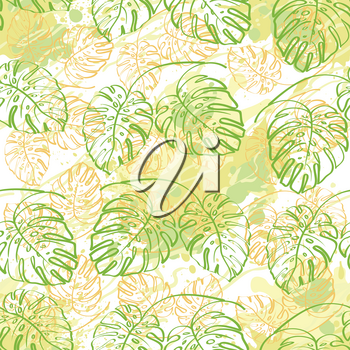 Seamless exotic background, contour monstera plants leaves and abstract pattern. Vector