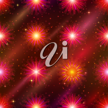 Firework background seamless of red, orange and pink colors. Pattern for holiday design. Eps10, contains transparencies. Vector