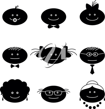 Smilies, set of black and white family characters. Grandmother, grandfather, mother, father, children. Vector