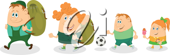Cheerful family of tourists, father and mother with backpacks, son with soccer ball and daughter with ice-cream going on vacation. Vector