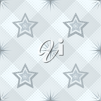 Abstract seamless background, pattern with stars of different forms on grey checkered. Eps10, contains transparencies. Vector