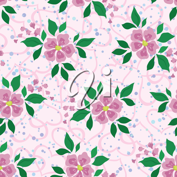 Abstract Floral Seamless Background with Pink Flowers, Green Leaves, Symbolical Hearts and Confetti. Eps10, Contains Transparencies. Vector