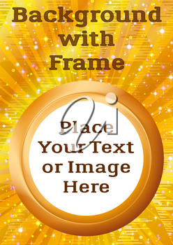 Abstract Background, Round Porthole Frame on Gold with Empty White Place for Text or Design Image. Eps10, Contains Transparencies. Vector