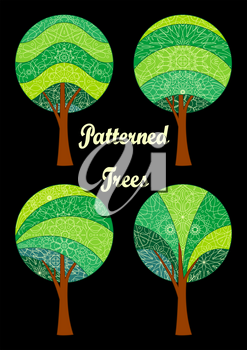 Set of Abstract Green Patterned Forest Trees on Black Background, Elements for your Design. Vector