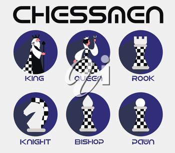 chessmen in a flat style