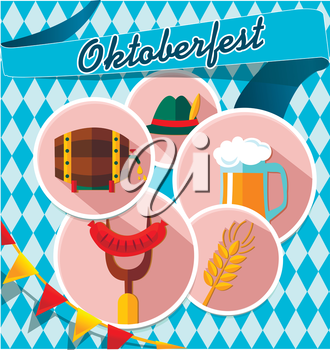 Germany elements collection illustration. Card with Oktoberfest