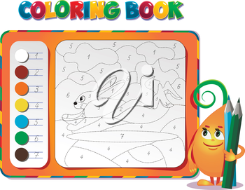 choose the color of the figure. Coloring book about rabbit
