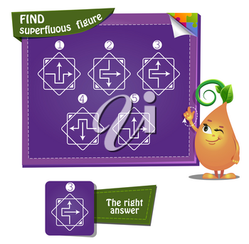Visual Game for children and adults. Development of logic, iq. Task game find superfluous figure