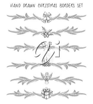 Set of hand drawn Christmas borders or dividers set. Christmas symbols and pine tree branches. Monochrome Isolated on white.