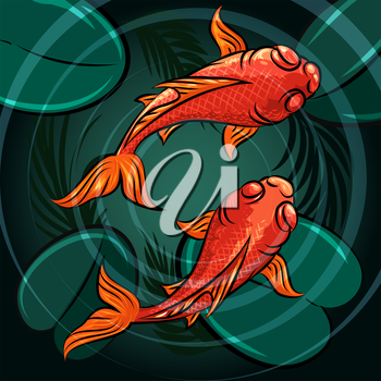 Pair of coi fishes in a pond drawn in cartoon style.