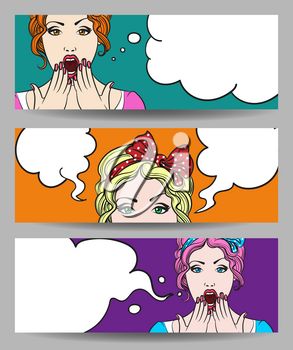 Set of Pop art surprised pretty woman face with open mouth. Comic woman with speech bubble. Vector illustration.