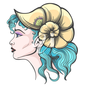 Hand Drawn Beautiful Girl face in Seashell hat and Blue hair. Vector illustration.