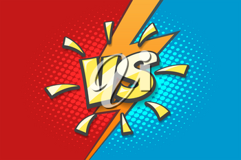 Versus Sign with Lightning background drawn in retro comics style. Competition or Fighting design template. Vector illustration