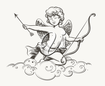 Cupid holds arrow of love and Bow sitting on a cloud. Tattoo drawn in vintage style. Vector illustration.