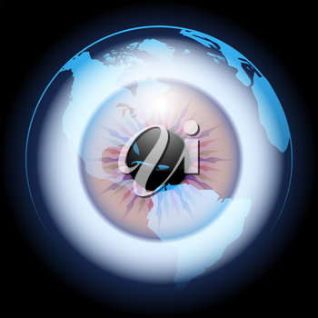 Globe With Eye Ball Inside. Global vision concept. Vector illustration.
