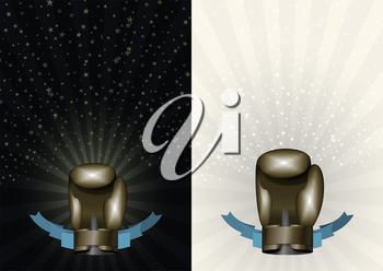 boxing gloves. Template for Championship Awards. boxing Bronze cup. Vector sport background with cup. Eps 10