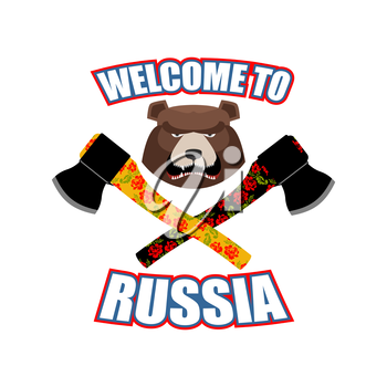 Welcome to Russia. Emblem of angry head bear and axe. Bladed weapons with traditional Russian ornament khokhloma. Aggressive animal