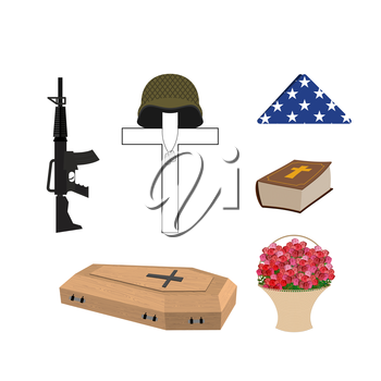 Set for burial of the soldier. Military funerals. Helmet on cross.  Bible and coffin. Machine gun and American flag. Accessories of death and bereavement.  Vector illustration of Memorial Day