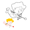 Cupid coloring book. Cute Angel and bow and arrows. Character for Valentines day 14 february