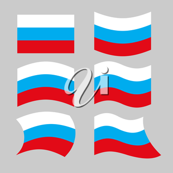 Flag Russia. Set of flags of Russian Federation in various forms. Developing Russian flag Government.