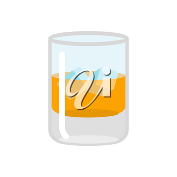 Whiskey and ice. Glass of scotch on rocks. Drink on white background. alcohol illustration
