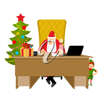 Santa Claus Office. Christmas work. Desk and chair boss. Grandpa director of new year. Cheerful elf. Santas Magic Residence at North Pole. Workplace and red gift bag.  fir-tree. Workplace and red sack