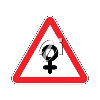Attention woman. Female sign on red triangle. Road sign Caution