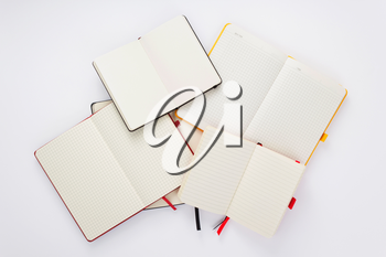 notebook or notepad at white background, top view