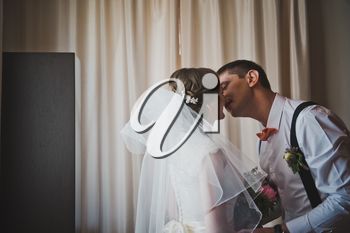The groom takes the bride with veil and kisses her.