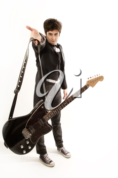 funny and charismatic guitarist in a suit with guitar