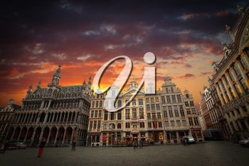 Brussels Grand Place. The evening in the old city in Europe