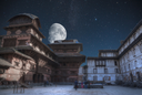 Patan .Ancient city in Kathmandu Valley. Nepal. night the starry sky and the moon is shining
