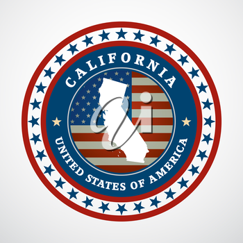 Label with map of California, vector