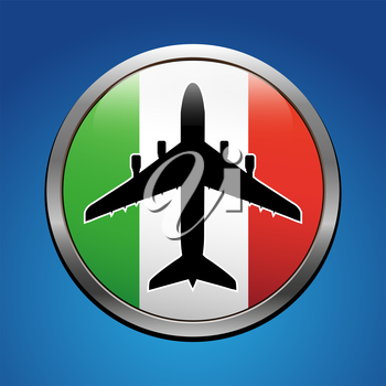 Airplane symbol with Italy flag vector design
