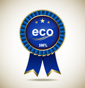 Award Rossete with Ribbon. Eco and Natural. Vector badge