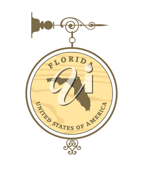 Vintage label with map of Florida, vector